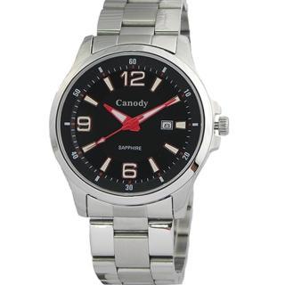 【Canody】黑面時尚大數字簡約腕錶(紅黑/43mm/CM2593-D)