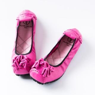 【ALAIN DELON】真皮舒適百搭女娃娃鞋W7562(3色 粉色   藍色  米色)
