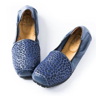 【ALAIN DELON】真皮舒適百搭女娃娃鞋W7563(2色 黑色   藍色)