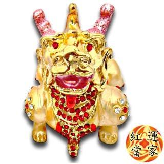 【紅運當家_12H】銅鎏金 招財金貔貅+水鑽 聚寶盆擺件(單隻  身長8公分)