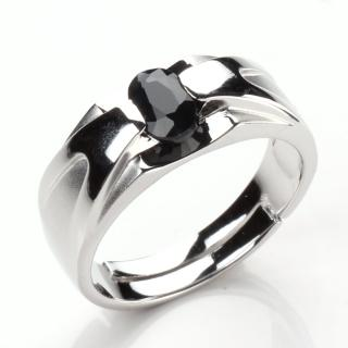 【寶石方塊】比翼雙飛天然0.5克拉黑藍寶石戒指