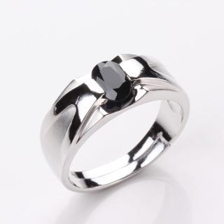 【寶石方塊】比翼雙飛天然1克拉黑藍寶石戒指