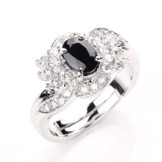 【寶石方塊】浪漫愛情天然1克拉黑藍寶石戒