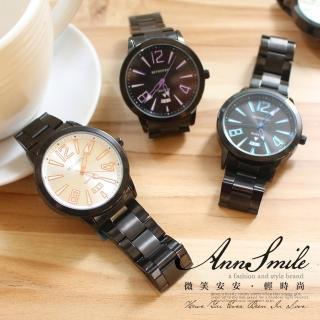 【微笑安安】中性純黑金屬色放射三角指針防水鐵帶手錶‧ 7 色
