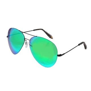 【VICTORIA BECKHAM】經典炫彩極輕量飛行員型細框太陽眼鏡(綠色VBS2-C06)