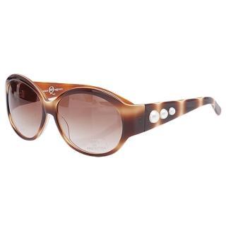 【Alexander McQueen】100%抗UV珍珠造型太陽眼鏡(咖啡色MC 23364-C2)