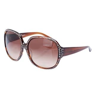 【Alexander McQueen】100%抗UV水鑽鑲邊玳瑁色太陽眼鏡(MC 28-91-C3)