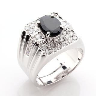 【寶石方塊】王者降臨天然2克拉黑藍寶石戒指