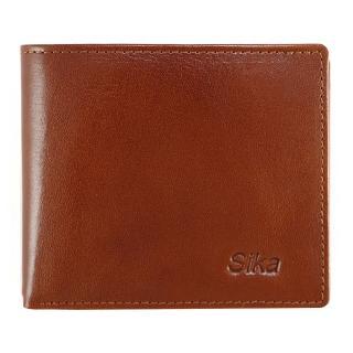 【Sika】義大利素面牛皮中性短皮夾-深褐色(A8206-01)