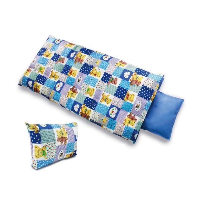 【遊遍天下】MIT台灣製後背式可愛保暖羽毛絨兒童睡袋(藍色大熊)