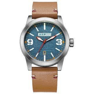 【Jeep Spirit】翻玩丹寧休閒皮帶錶-銀框藍x淺咖啡色皮帶(JPS70301)