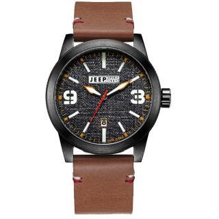 【Jeep Spirit】翻玩丹寧休閒皮帶錶-黑x咖啡色皮帶(JPS70304)