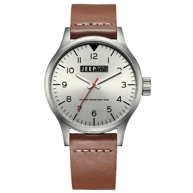 【Jeep Spirit】美式派對美國復古風腕錶-銀X褐色(JPS50103)