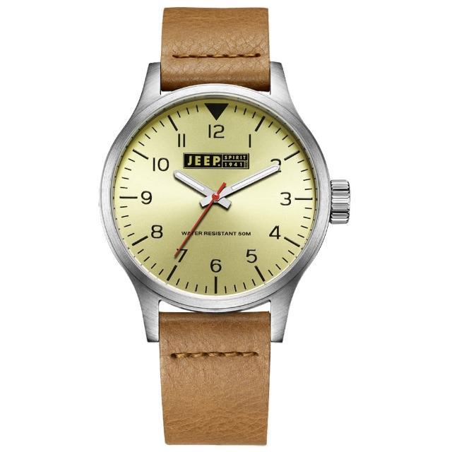 【Jeep Spirit】美式派對美國復古風腕錶-淡黃X淺褐色(JPS50104)