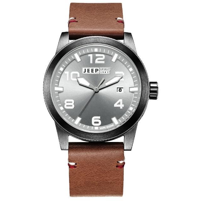 【Jeep Spirit】自然率性休閒皮帶錶-黑框灰x咖啡色(JPS70203)