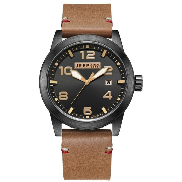 【Jeep Spirit】自然率性休閒皮帶錶-黑x淺咖啡色(JPS70202)