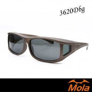【MOLA 摩拉】近視/老花眼鏡族可戴-摩拉時尚偏光太陽眼鏡 套鏡 鏡中鏡(3620Dbg)