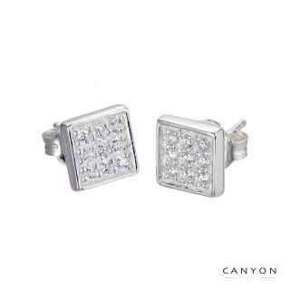 【CANYON】閃亮方晶貼式耳環