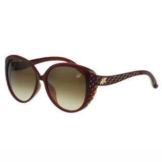 【SWAROVSKI】雕刻 水鑽 太陽眼鏡(咖啡紅色)