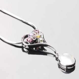 【寶石方塊】繽紛璀璨天然月光石項鍊-925純銀飾