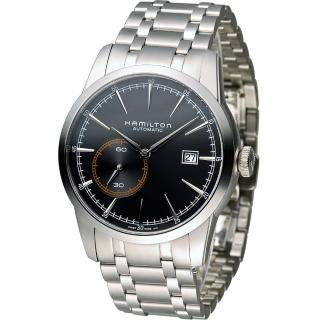 【HAMILTON】漢米爾頓 鐵路系列小秒盤機械睕錶(H40515131 黑)   HAMILTON 漢米爾頓