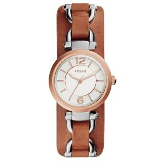 【FOSSIL】簡約之美時尚都會腕錶-玫瑰金x咖啡(ES3855)