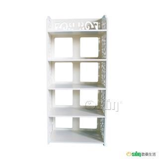 【Osun】DIY木塑板置物架 歐式白色雕花五層鞋架(CE-178-XJ-005)