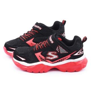 【SKECHERS】中大童 輕量彈性運動鞋(95271LBKRD-黑紅)