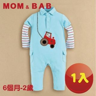 【MOM AND BAB】藍色汽車純棉 連身衣 兔裝(6M-24M)