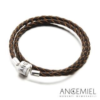 【Angemiel安婕米】義大利珠飾 雙圈皮革手環(深褐)