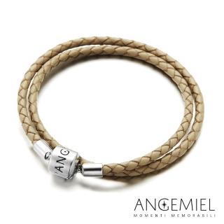 【Angemiel安婕米】義大利珠飾 雙圈皮革手環(米色)