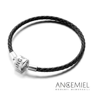 【Angemiel安婕米】義大利珠飾 純銀皮革手環(黑色)