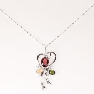 【寶石方塊】濃情蜜意天然碧璽項鍊-925純銀飾