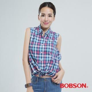 【BOBSON】格子綁式上衣(藍格24133-55)