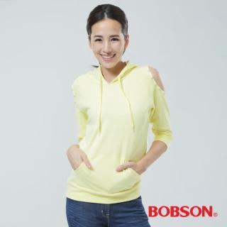 【BOBSON】裸肩帽T(黃色33124-30)
