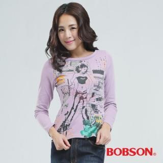 【BOBSON】印圖個性女郎T恤(紫色65074-61)
