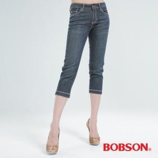 【BOBSON】粉色鑽七分牛仔褲(深灰159-53)