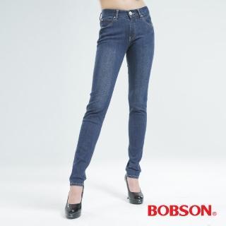 【BOBSON】保暖膠原蛋白.小直筒褲(中藍8098-53)