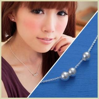 【維克維娜】輕尚風格。銀色亮面圓球氣質925純銀項鍊