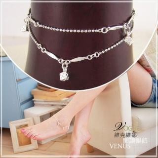 【維克維娜】俏皮趣味。精巧骰子造型雙細珠鍊925純銀腳鍊