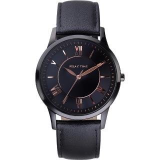 【RELAX TIME】RT58 經典學院風格腕錶-黑x玫瑰金時標(RT-58-9L)