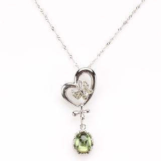 【寶石方塊】綠葉醉桃天然碧璽項鍊
