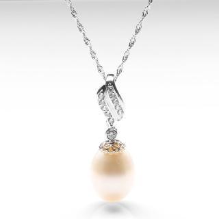 【寶石方塊】點滴在心頭天然珍珠項鍊-925銀飾
