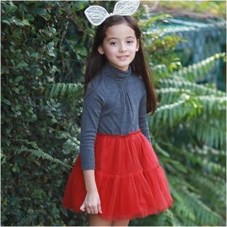 【baby童衣】小女童佯裝 秋冬套裝 高領彈力磨毛上衣+厚刷毛帶紗裙洋裝 50644(暗紅)