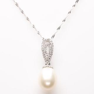 【寶石方塊】粉光若膩天然珍珠項鍊