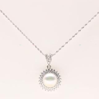 【寶石方塊】幸福圓滿天然珍珠項鍊-925銀飾