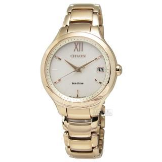 【CITIZEN L 星辰表】清爽氣息光動能鋼帶腕錶 裸色x香檳金 32mm(EO1163-57P)