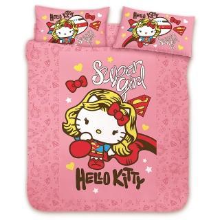 【享夢城堡】HELLO KITTY 女超人系列(雙人純棉四件式床包涼被組-粉)