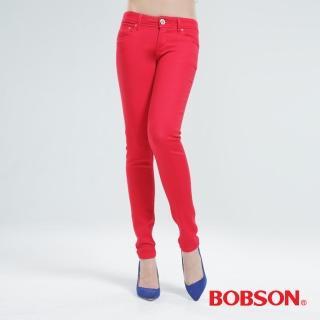【BOBSON】彩色強彈力緊身褲(紅色8068-13)