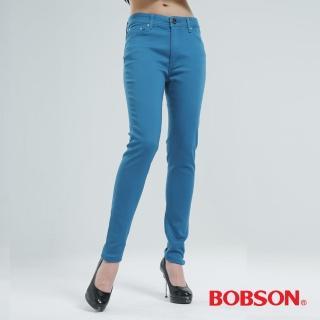 【BOBSON】高腰強彈力緊身褲(天藍8107-53)
